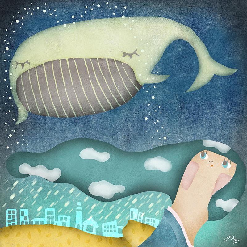 空飛ぶ鯨を見上げる和装女性