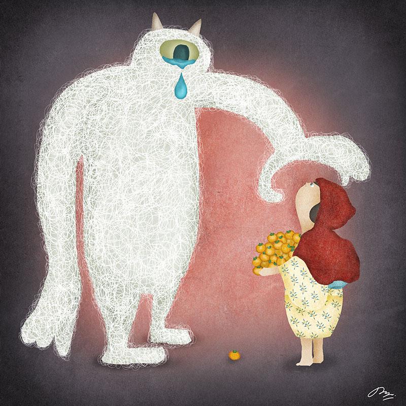怪物と対峙する赤ずきんの詩画