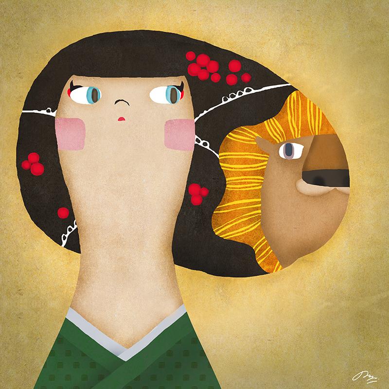 頭にライオンを買っている和装の子のイラスト