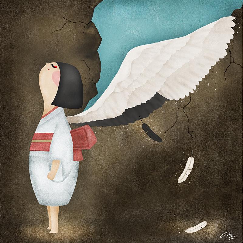 鶴の羽を背に持つ女性