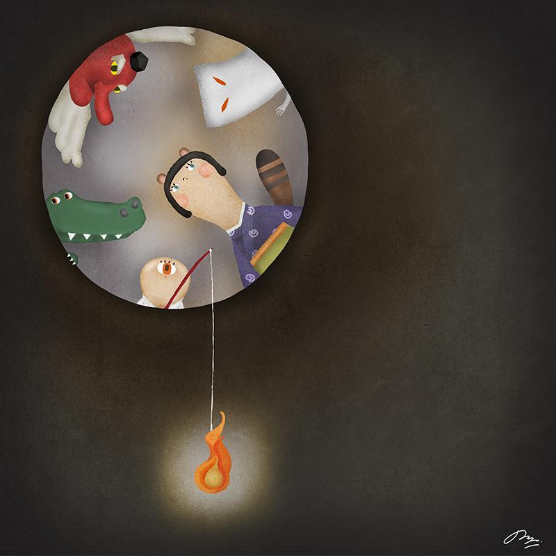 穴を除く妖怪たちと火の玉