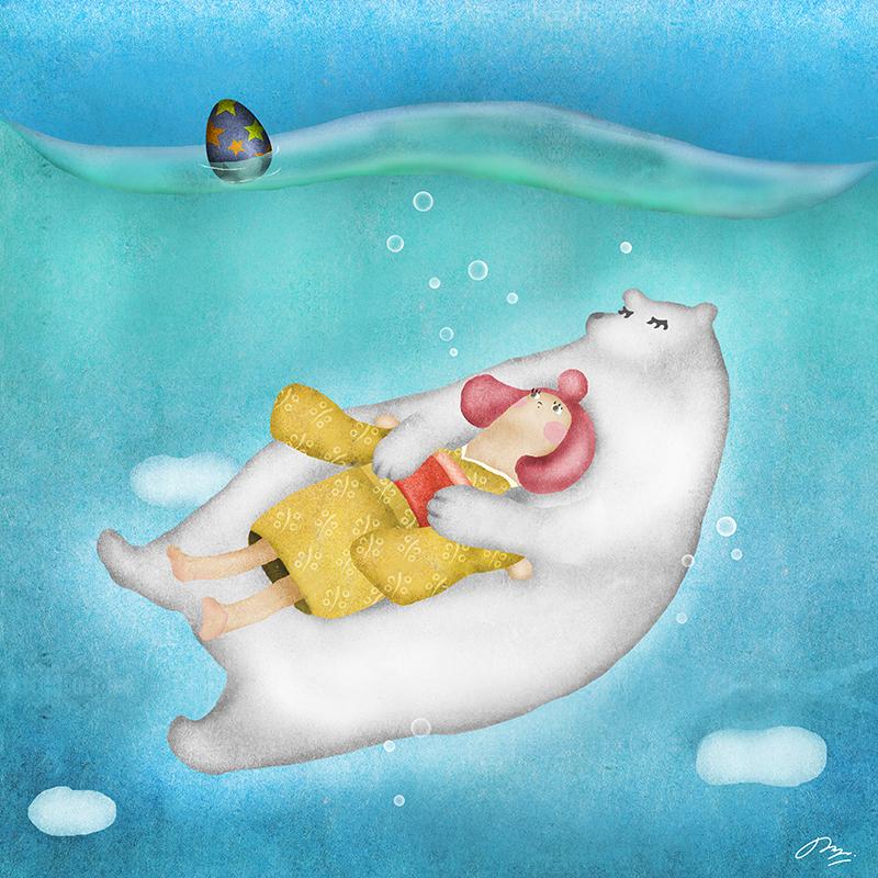 シロクマに抱っこされて空に沈むイラスト