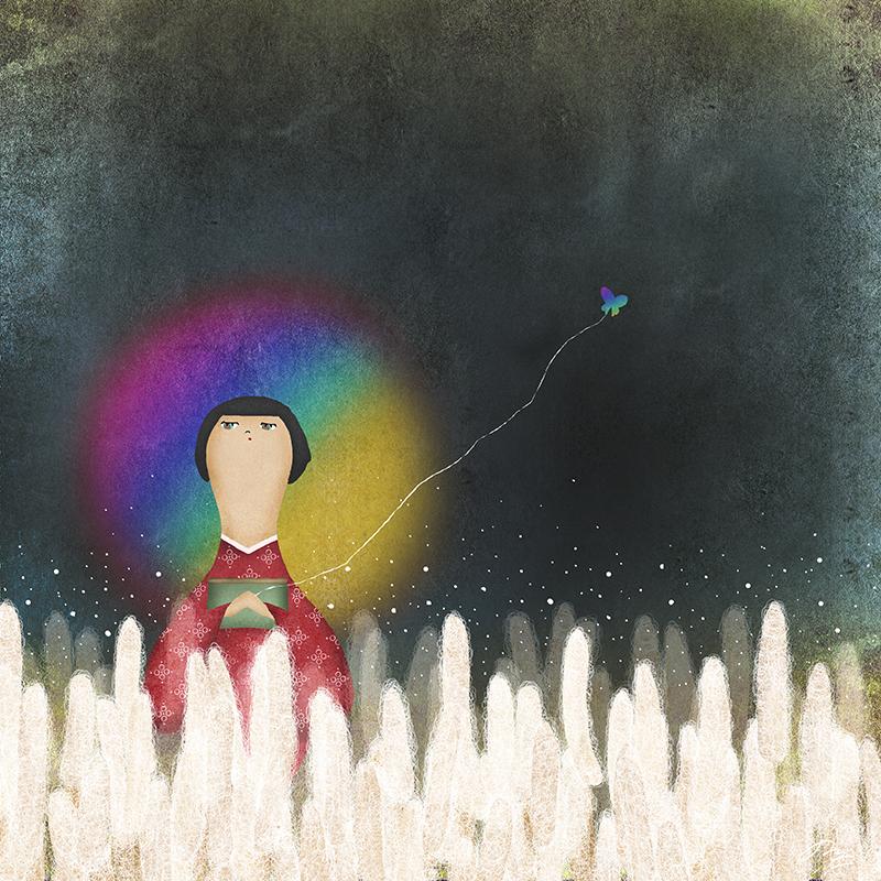 虹を後ろに寂しげな子供