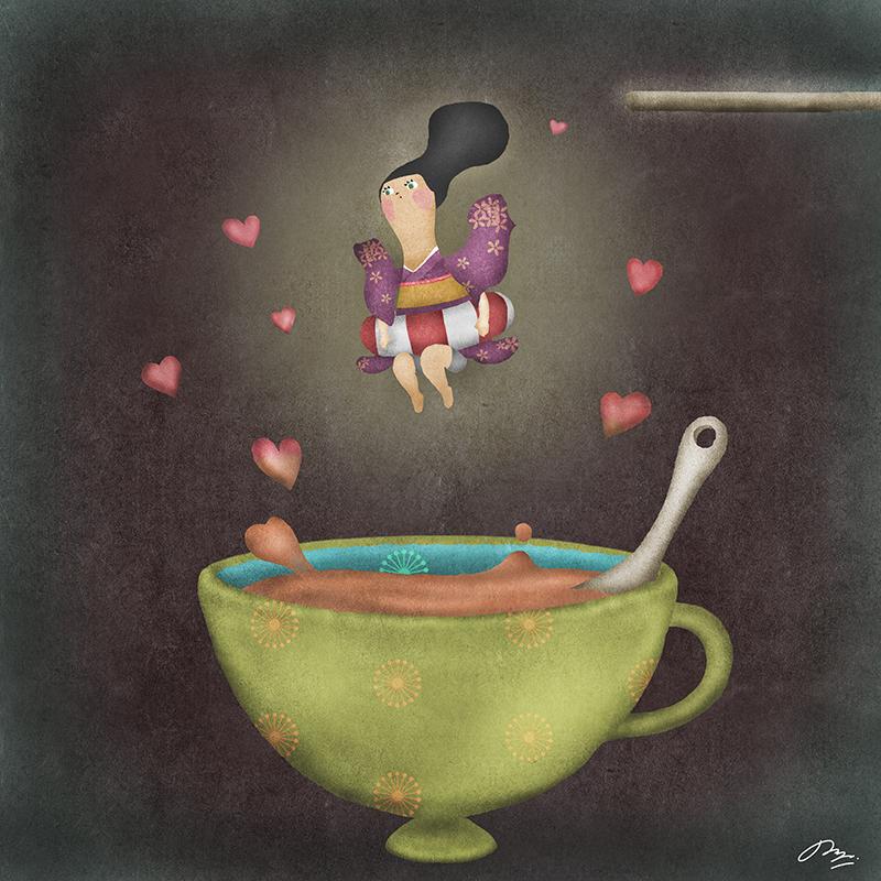 和装に浮き輪でミルクティーに飛び込む絵