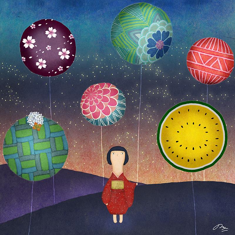 惑星の風船を持つ子供の絵