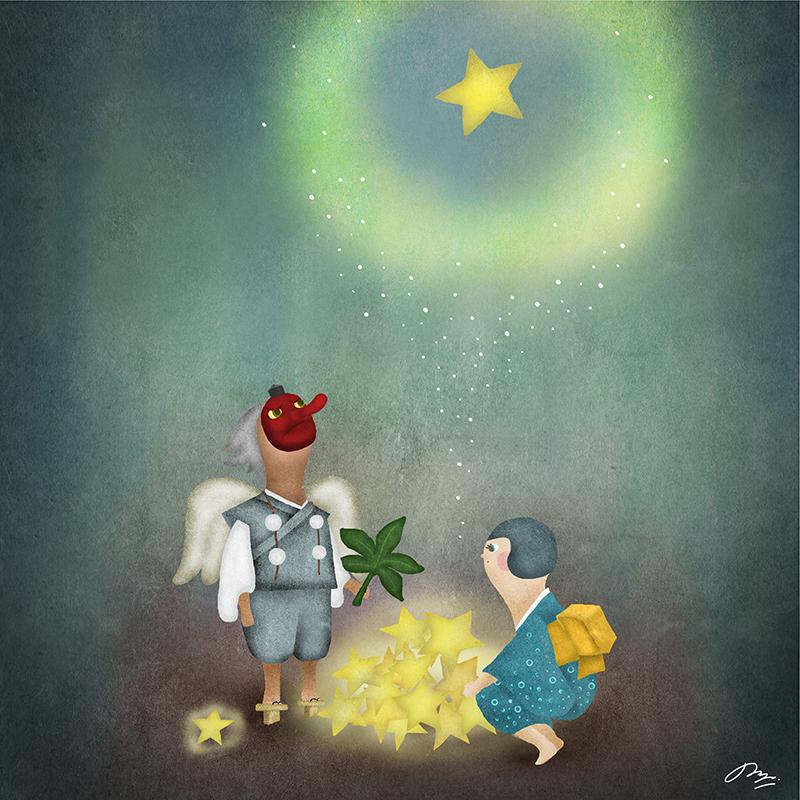 星を打ち上げる天狗と和服女子のイラスト