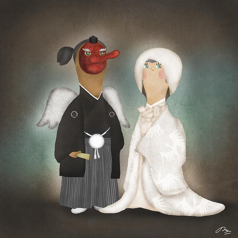 天狗と結婚した白無垢の花嫁