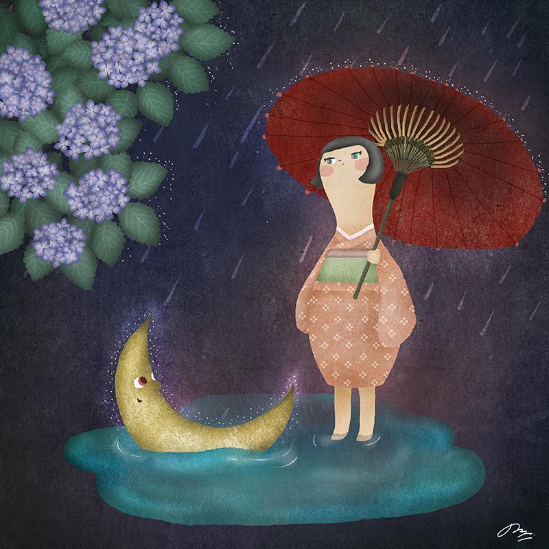 水たまりに沈む三日月を見る子の詩画