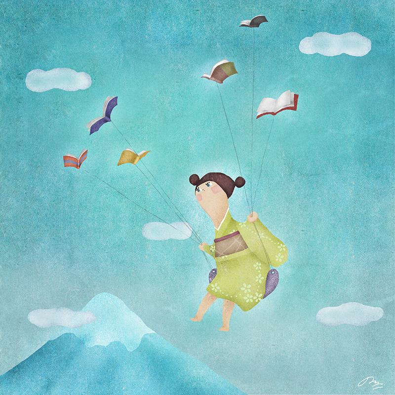富士山の上で飛ぶ女の子と本の鳥の絵