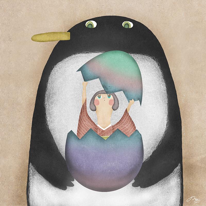 ペンギンの抱えた卵を割って出てきた女子