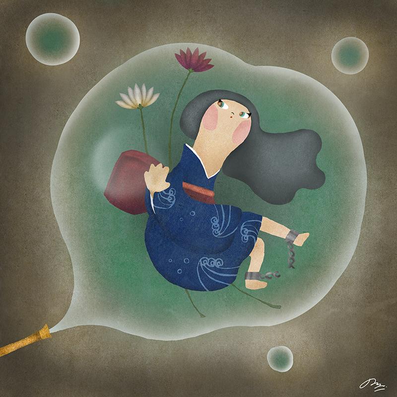 シャボン玉に閉じ込められた女の子のイラスト