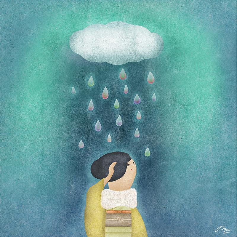 虹色の雨の下にいる黄色い和服女性