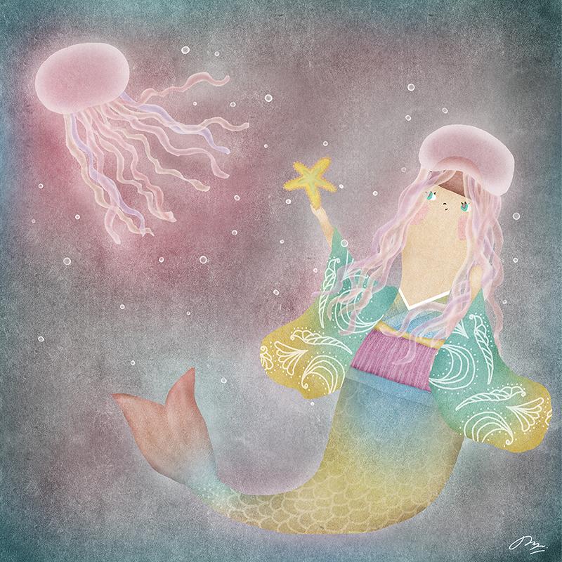 ピンクのクラゲとマーメイドのイラスト