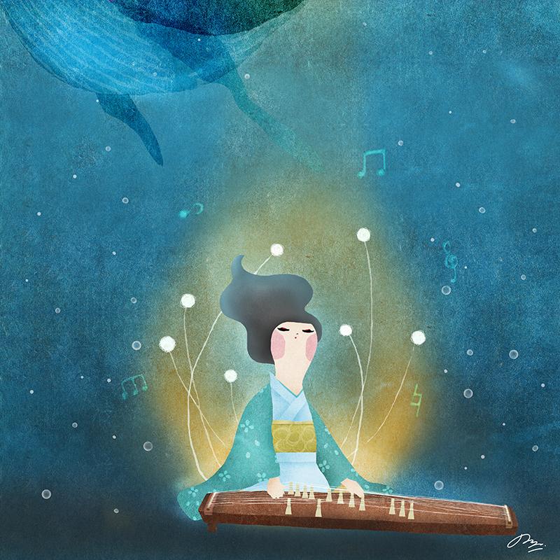 鯨の泳ぐ海の底で琴を奏でる女性