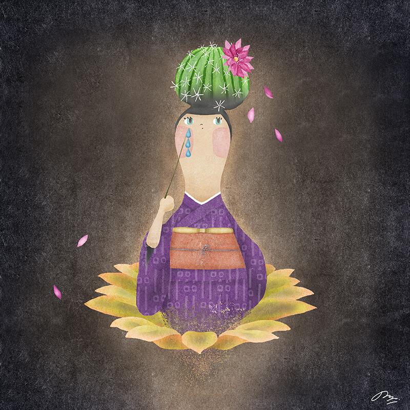 髪の毛がサボテンの着物の女性