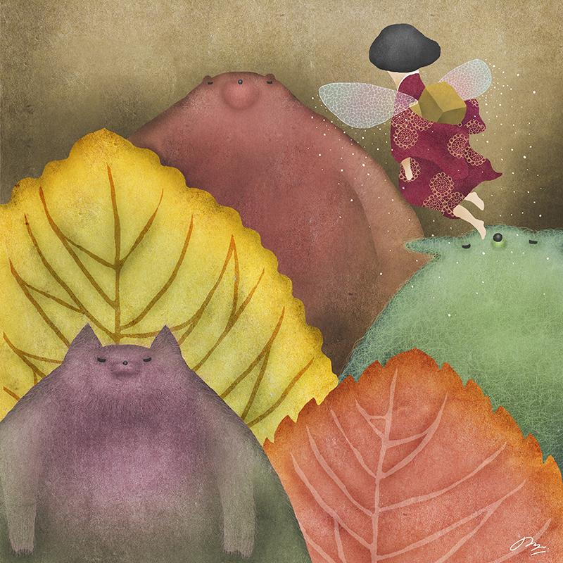動物たちと空を飛ぶ虫の羽を持つ女の子の詩画
