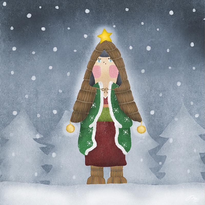 雪の中寒そうな女性の絵