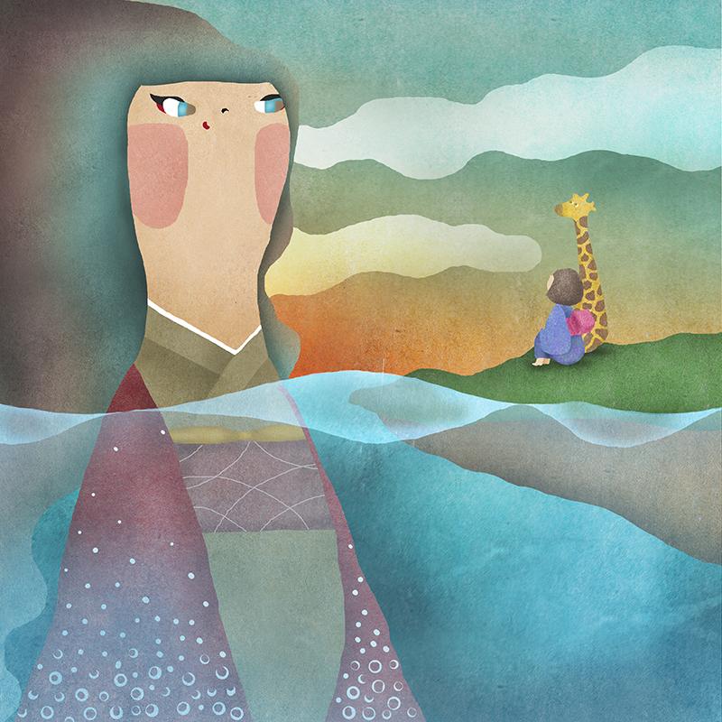 巨人とキリンと夕焼けの詩画