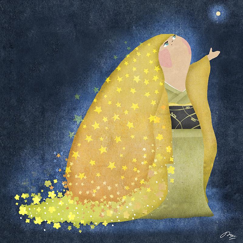 星を見上げる和服の子