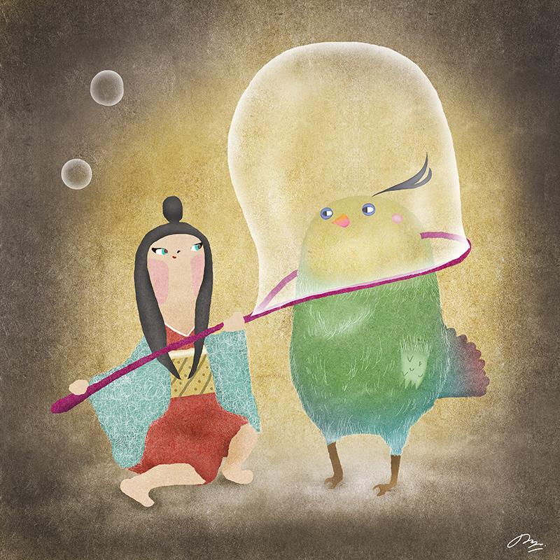 鳥と向き合う日本の少女