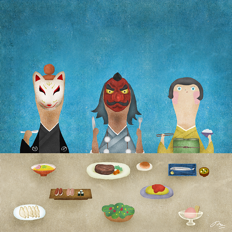 狐と天狗と和服の子の食事風景