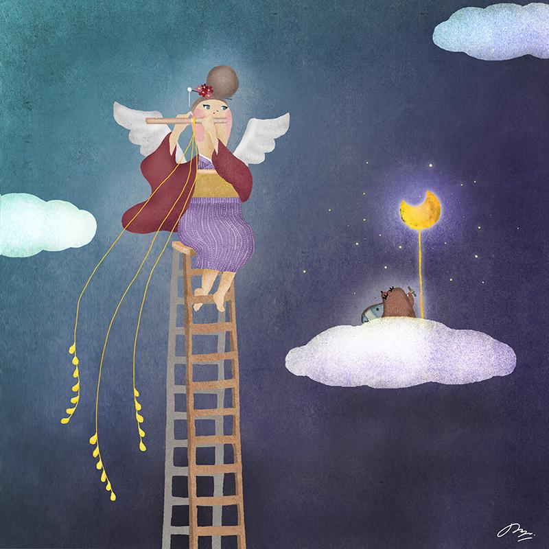 モグラと横笛を吹く着物の天使