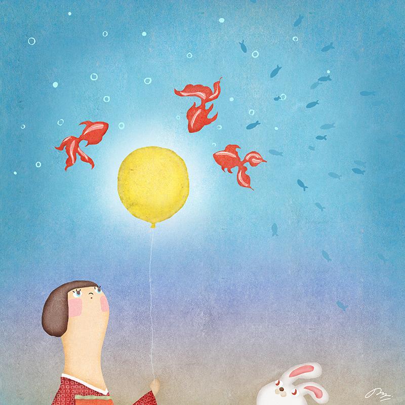 風船の月に集まる金魚のイラスト