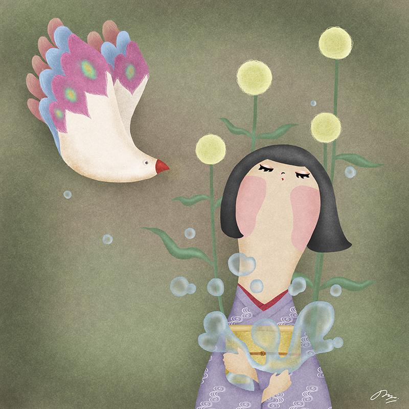 目を閉じて鳥の声を聞こうとしない子供のイラスト