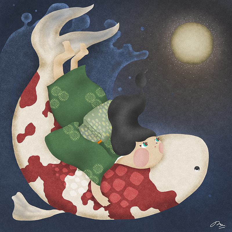 大きな鯉に抱きついて月を見る和服の女の子