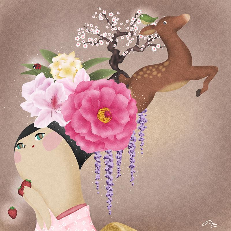 頭から花が広がってウグイスが鳴いている絵
