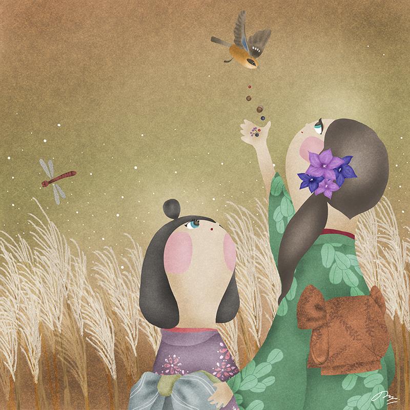 鳥に木の実をあげる和装姉妹