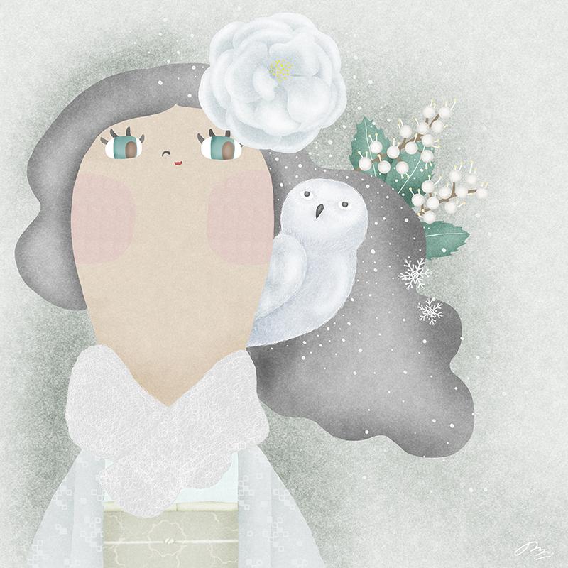 雪の中フクロウといる女の子