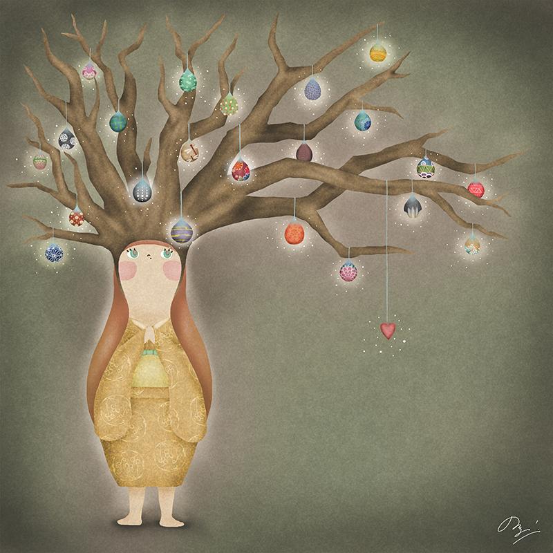 木に下がる宝石を身にまとう子供