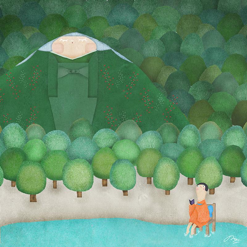 森にそびえるかぐや姫の山の詩画