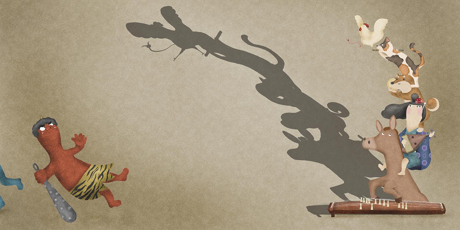和風ブレーメンの音楽隊と赤鬼のイラスト