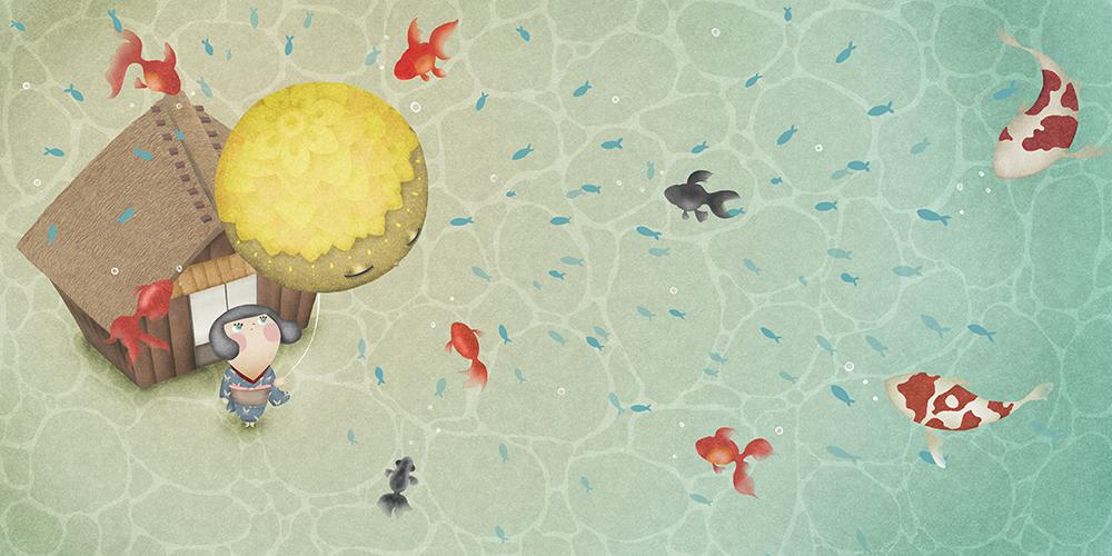 浅瀬の底にいる子供と集まる金魚の詩画