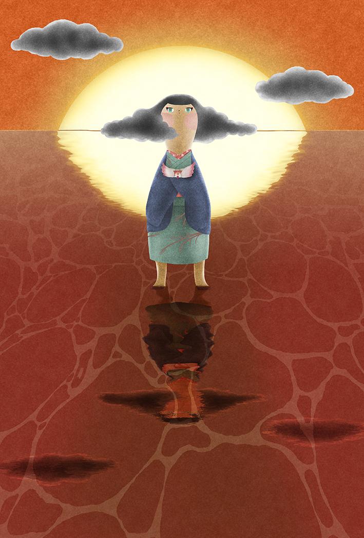 夕日の逆光に立つ着物の女の子