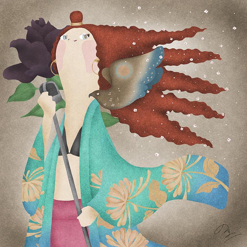 イギリスの歌手ジェスグリンの似顔絵