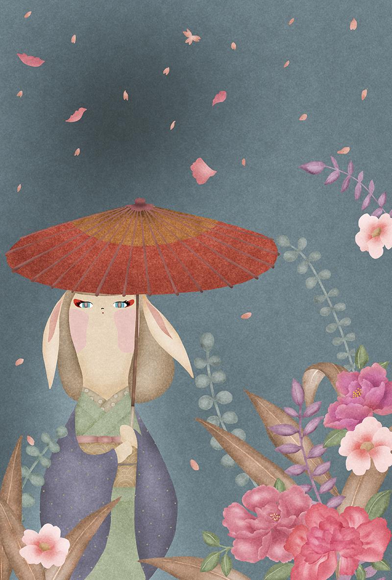 蛇の目傘をさしたウサギ耳の女の子が牡丹の花やユーカリなど綺麗な植物に囲まれているイラスト
