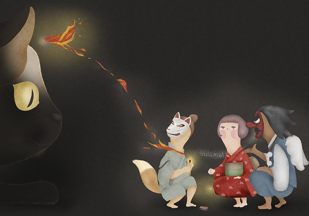 天狗と狐と女の子が花火をしているのを化け猫が見ている