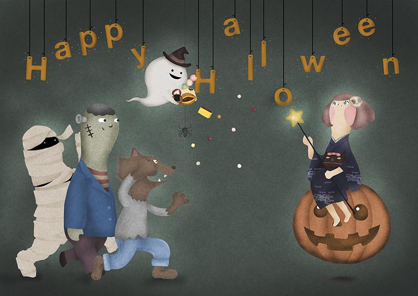 ハロウィンのモンスターたちとかぼちゃに乗った和服魔女