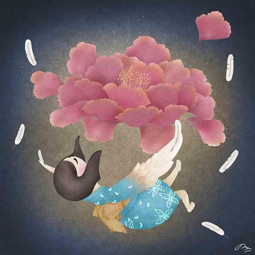 大輪の花と和服の少女